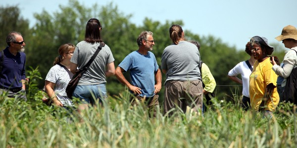 Roxbury Farm founder Jean-Paul Courtens (in blue t-shirt) talks with THV field experience participants on day two of the institute. They also visited the adjacent Martin Van Buren National Historic Site. Photo by Bill Urbin, National Park Service.