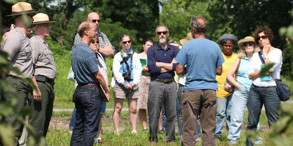 Educators with the farmer and NPS staff at Martin Van Buren National Historic Site. Photo: Bill Urbin, NPS.