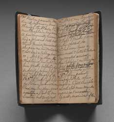 This volume of Akin's diary covers from May-July 1864. Her entries are overwritten with edits for her published account. (Lent to the Smithsonian's Documen Gallery by National Library of Medicine. Downloaded 1/12/2015.)
